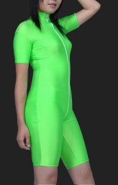 Mint Green Lycra Spandex Front Open Jumpsuit (No Hood, Gloves &