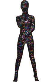 Multi-Color Flow Patterned Shiny Metallic Zentai Suit
