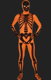 Orange Skeleton Full Body Suit | Spandex Lycra Zentai Bodysuit