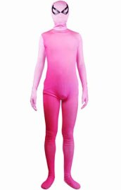Pink Gradient Spandex Lycra Zentai Suit with Open Eyes