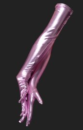 Pink Shiny Metallic Long Gloves