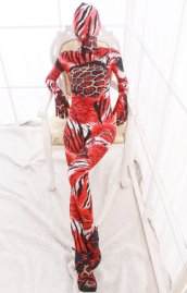 Red and Black Animal Pattern Spandex Lycra Zentai Suit