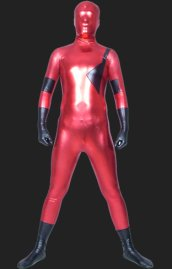 Red and Black Shiny Metallic Full Body Zentai Suit