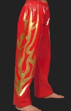 Red and Gold Shiny Metallic Wrestling Pants