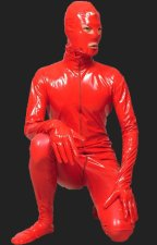 Red PVC Full Body Zentai Suits with Open Eyes and Mouth