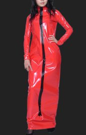 Red PVC Long Dress with Long Sleeves (Front Open)