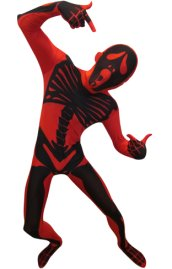 Red Screaming Skull Skeleton Zentai Suit