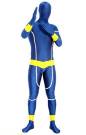 Royal Blue and Yellow Glow in Dark Super Hero Zentai Suit