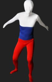 Russia Flag Full Body Suit | White Blue and Red Spandex Lycra Zentai Suit