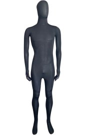 Semi-transparent Black Stretchy Silk Lycra Full Bodysuit