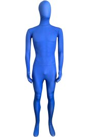 Semi-transparent Royal Blue Stretchy Silk Lycra Full Bodysuit