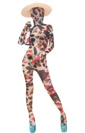 Sexy Brown and Pink Dots Transparent Spandex Zentai Suit