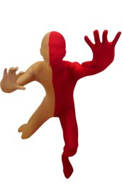 Split Zentai | Carnation and Red Spandex Lycra Zentai Suit