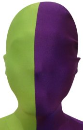 Split Zentai Mask | Spring Green and Purple