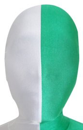 Split Zentai Mask | White and Green