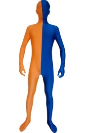 Split Zentai | Orange and Blue Spandex Lycra Zentai Suit