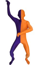 Split Zentai | Purple and Orange Spandex Lycra Zentai Suit