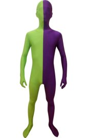 Split Zentai | Purple and Springgreen Spandex Lycra Zentai Suit