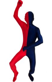 Split Zentai | Red and Navy Spandex Lycra Zentai Suit