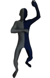 Split Zentai | Slate Grey and Navy Spandex Lycra Zentai Suit
