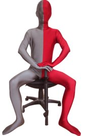 Split Zentai | Slate Grey and Red Spandex Lycra Zentai Suit
