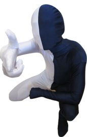 Split Zentai | White and Navy Spandex Lycra Zentai Suit