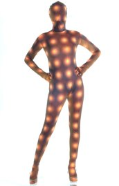 Spotlight Pattern Brown and Yellow Spandex Lycra