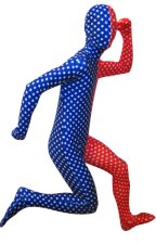 Stars Split Zentai Suit | Red and Blue Spandex Lycra Zentai Suit