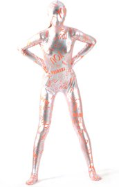Text Orange and Silver Shiny Full Body Suit
