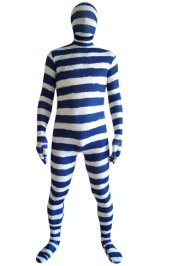 White and Blue Strips Spandex Lycra Zentai Suit