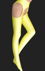 Yellow Lycra Pantihoses with Open Crotch