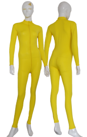 Yellow Spandex Lycra Zentai Suit with Front Zipper and Crotch Zipper